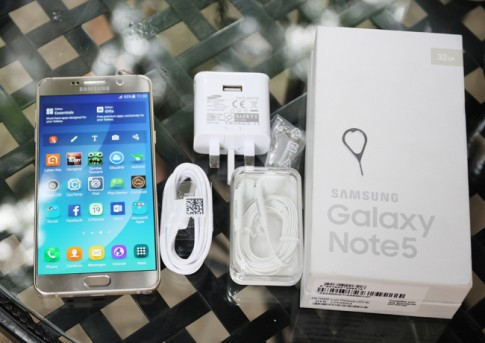 Mở hộp Samsung Galaxy Note 5 Gold