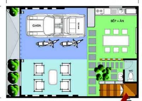 Nhà 4 tầng 70 m2 với ba phòng ngủ