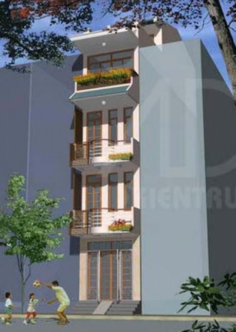 Nhà 4 tầng, mặt tiền hẹp 3 m