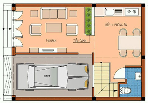 Nhà ba tầng 6,3 x 8,6 m