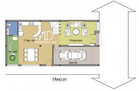 Nhà hai tầng, hai mặt tiền trên đất 7,1 m x 14,54 m