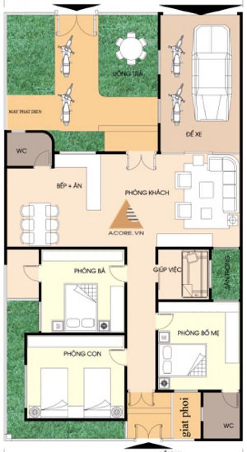 Nhà một tầng trên đất 180 m2