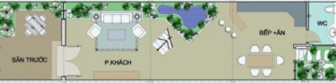 Nhà trên đất 5x20 m hướng chính Tây