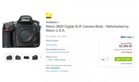 Nikon D800 'refurbished' rẻ hơn hàng mới tới 500 USD