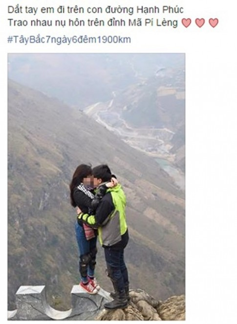 Phượt thủ tranh thủ trao nhau nụ hôn trên đỉnh Mã Pí Lèng