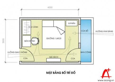 Sắp xếp đồ phòng ngủ 4 x 3 m