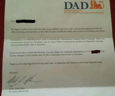 Thư từ chối cho vay của 'ngân hàng bố' với cậu con 6 tuổi