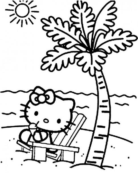 Tranh tô màu 'Mèo Kitty bên bờ biển'