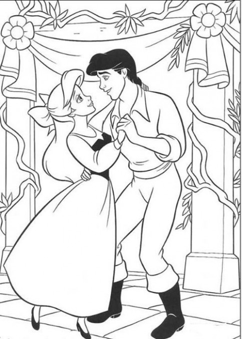 Tranh tô màu 'Nàng tiên khiêu vũ cùng hoàng tử'