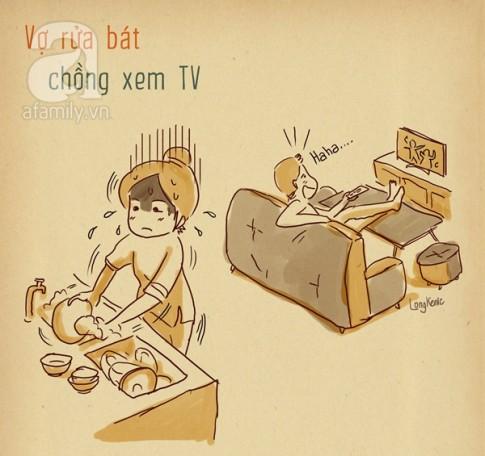 Tranh vui: Nghich canh bat cong giua vo va chong ma ai cung thay dung