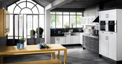 Tủ bếp trắng - đen phong cách hiện đại