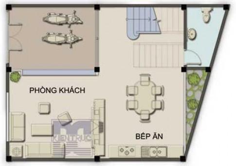 Xây nhà 60 m2 trên đất hình thang