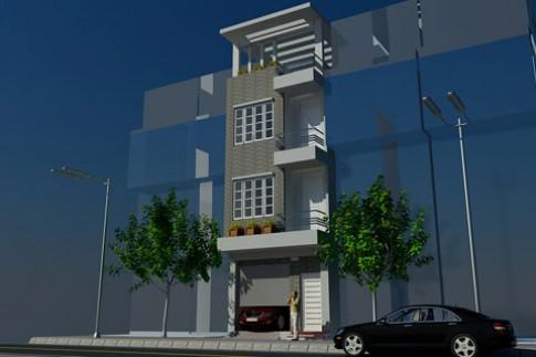 Xây nhà phố 4 tầng mặt tiền 4,3 m