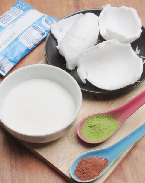 Cách làm mứt dừa non vị sữa, trà xanh, cacao