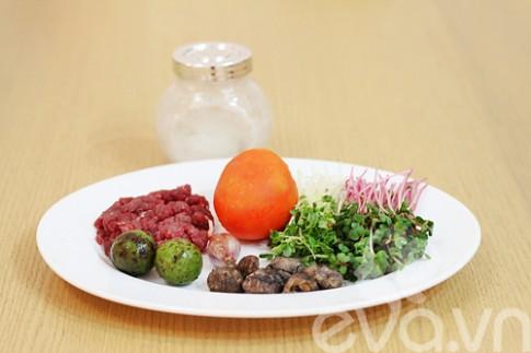 Canh rau mầm thịt bò viên cuối tuần