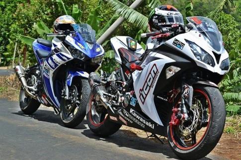 [Clip] Kawasaki Ninja 300 đuối sức khi so tài với Yamaha R3