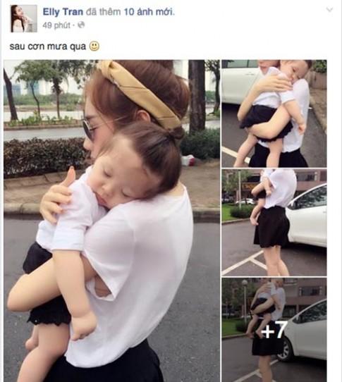 """""""Đốn tim"""" với ảnh bé Cadie ngủ gật trên vai mẹ Elly Trần"""