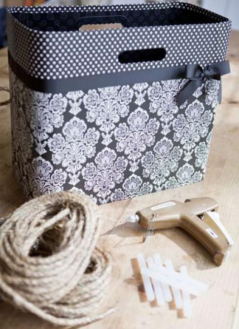 Giỏ hoa lãng mạn từ dây thừng và túi giấy