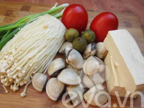 Lạ với canh ngao đậu phụ nấu nấm