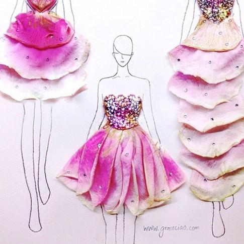 Ngẫu hứng xé cánh hoa làm... váy