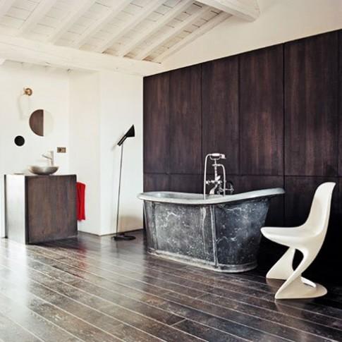 Phối màu đen trắng cho phòng tắm