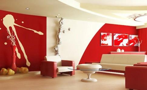 Phòng khách 'cá tính' với tông màu trắng đỏ