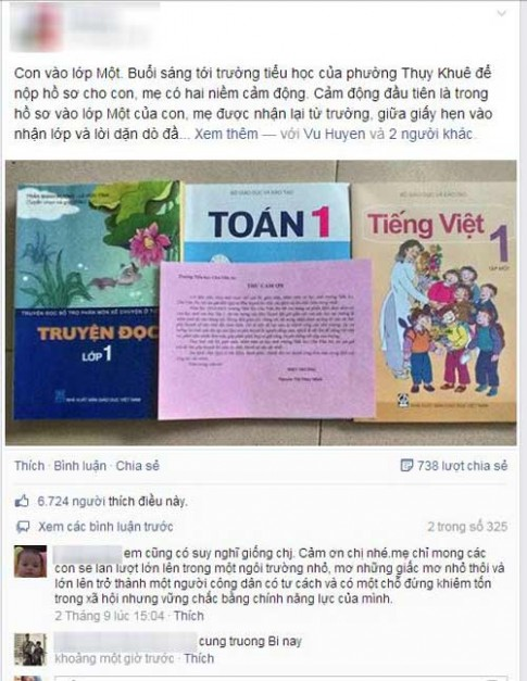 Tâm thư xúc động của Trang Hạ ngày đầu con vào lớp 1