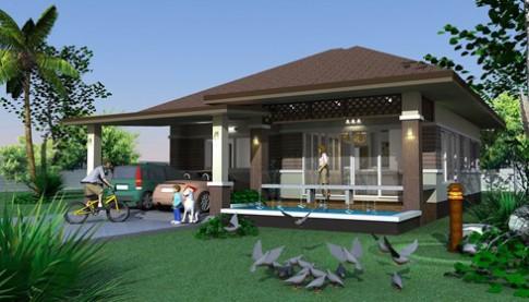 Thiết kế biệt thự vườn một tầng có bể bơi
