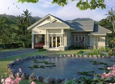 Thiết kế biệt thự vườn theo đường cong