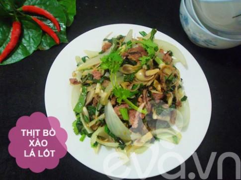 Thực đơn: Bò xào lá lốt, nộm rau muống