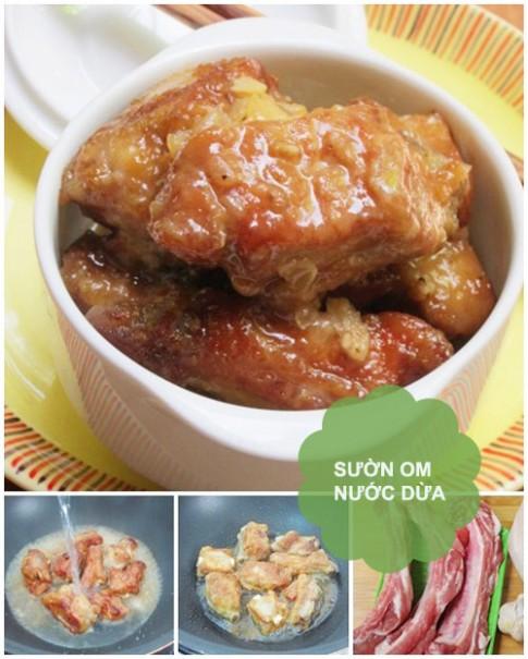 Thực đơn: Sườn om nước dừa, canh bí tôm
