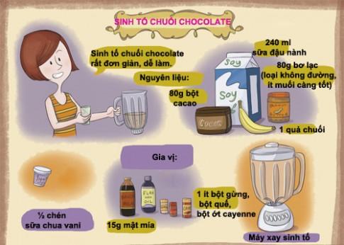 Thưởng thức sinh tố chuối, chocolate ngon mê