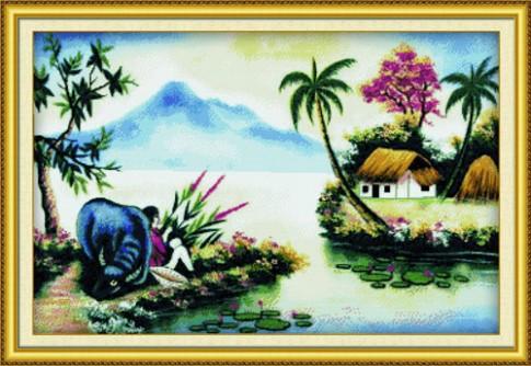 Tranh chữ thập phong cảnh đậm hồn Việt
