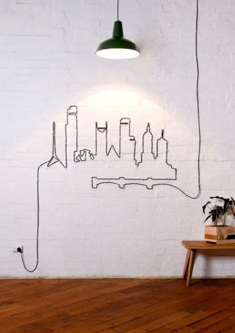 Tường nhà nhí nhảnh với... dây điện
