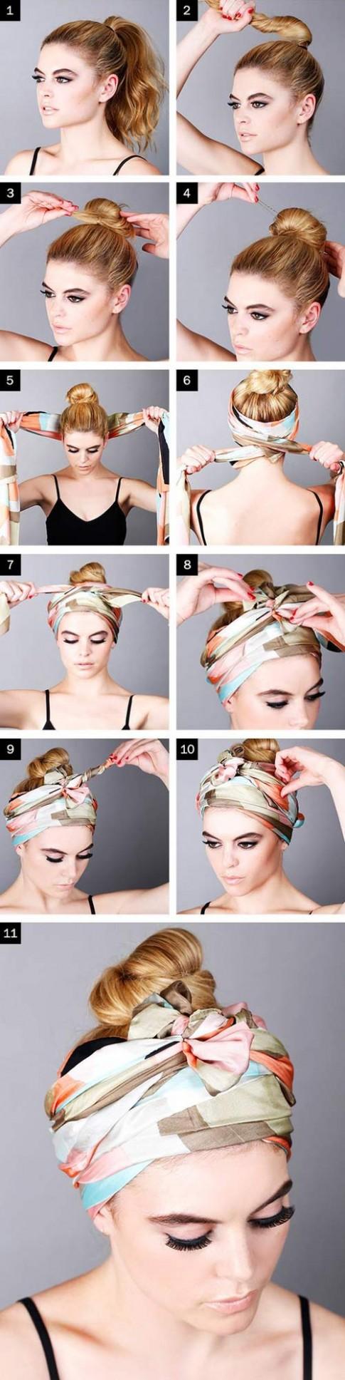 Biến tấu cho tóc đẹp quên sầu chỉ bằng 1 chiếc khăn