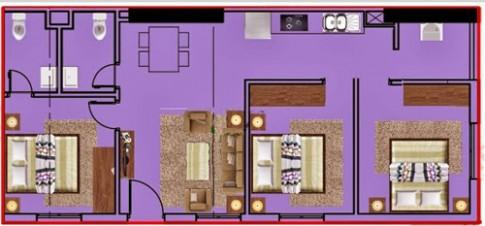 Bố trí căn hộ chung cư 73 m2 cho cặp vợ chồng trẻ
