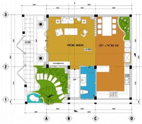 Bố trí hợp lý cho nhà 2 tầng hình chữ L