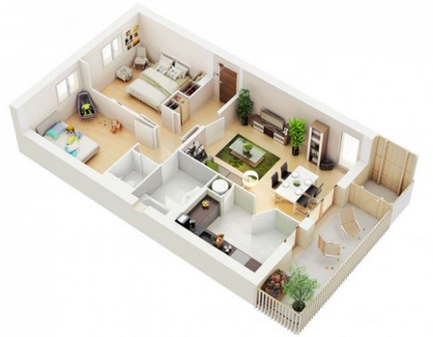 Các cách bố trí căn hộ 2 phòng ngủ