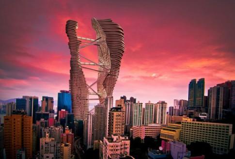 Cao ốc có trang trại và ruộng lúa ngay trung tâm Hong Kong