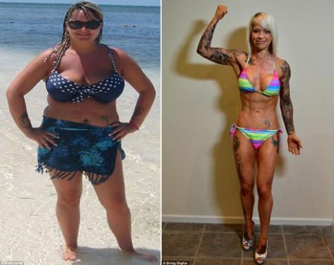 Cô gái xăm trổ giảm 38kg để mặc vừa váy cô dâu