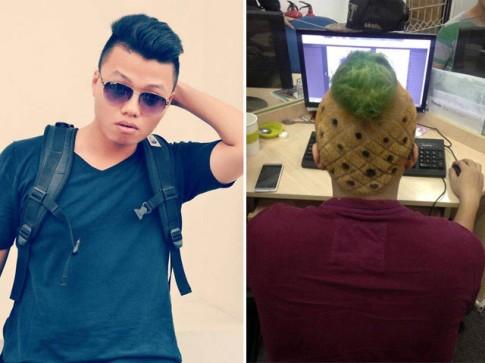'Đắng lòng' chàng trai Việt phải cắt tóc hình quả dứa vì 'trót dại'