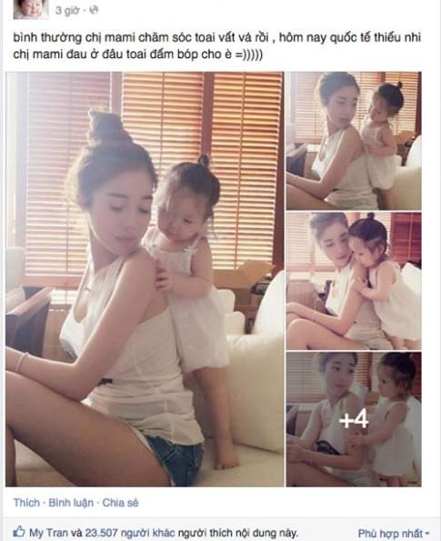 Elly Trần thích thú khoe ảnh con gái đấm bóp trong ngày 1/6