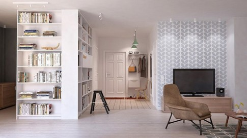 Không gian thoáng đãng trong căn hộ 105 m2