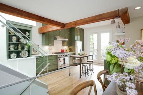 Khu bếp sạch đẹp với tông màu xanh - trắng