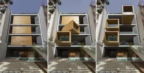 Nhà 7 tầng có 3 phòng xoay 90 độ ấn tượng