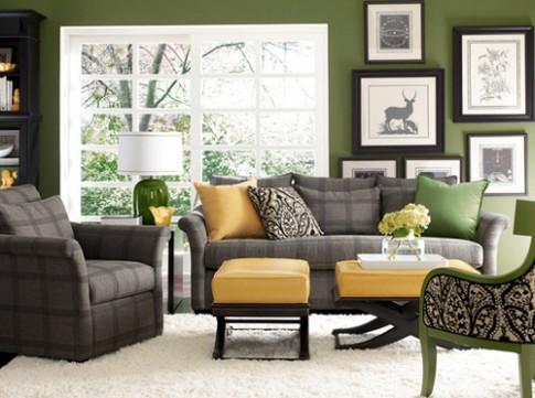 Phòng khách màu xanh cho mùa hè