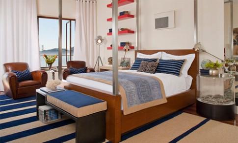 Phòng ngủ mát mẻ nhờ sắc màu của biển