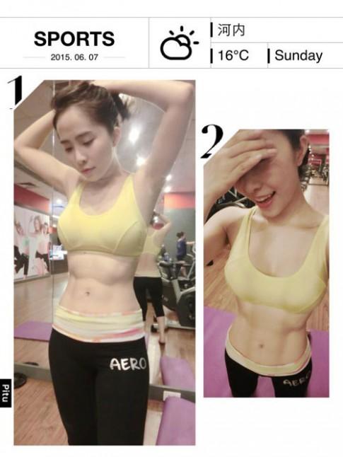 Quỳnh Nga duy trì bụng phẳng, da trắng bằng gym và yoga