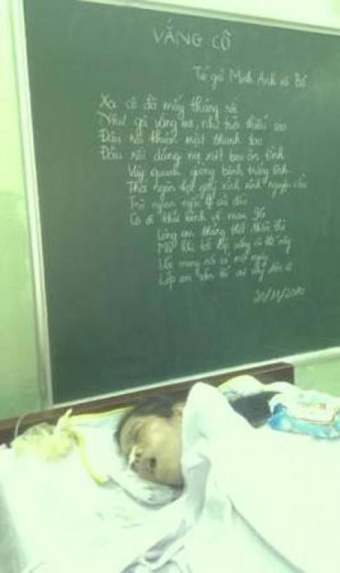 Rơi nước mắt bài thơ HS tặng cô giáo nằm liệt giường