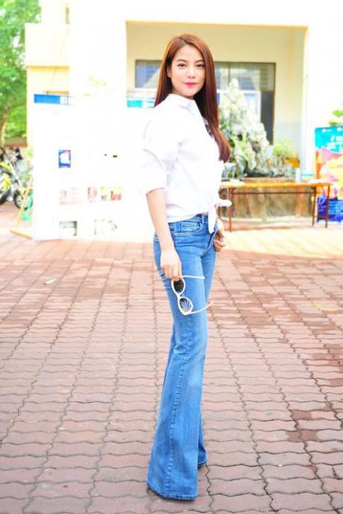 Sao Việt chân bỗng thon dài nhờ quần jeans ống loe